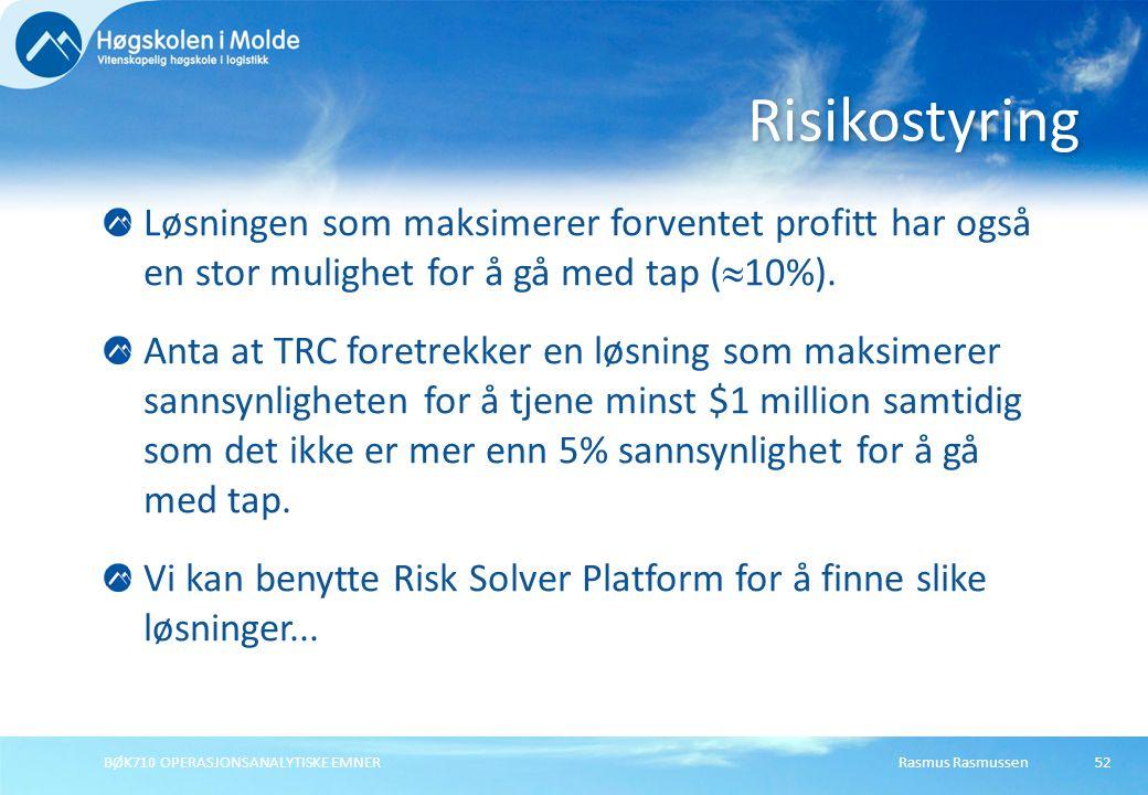 Risikostyring Løsningen som maksimerer forventet profitt har også en stor mulighet for å gå med tap (10%).