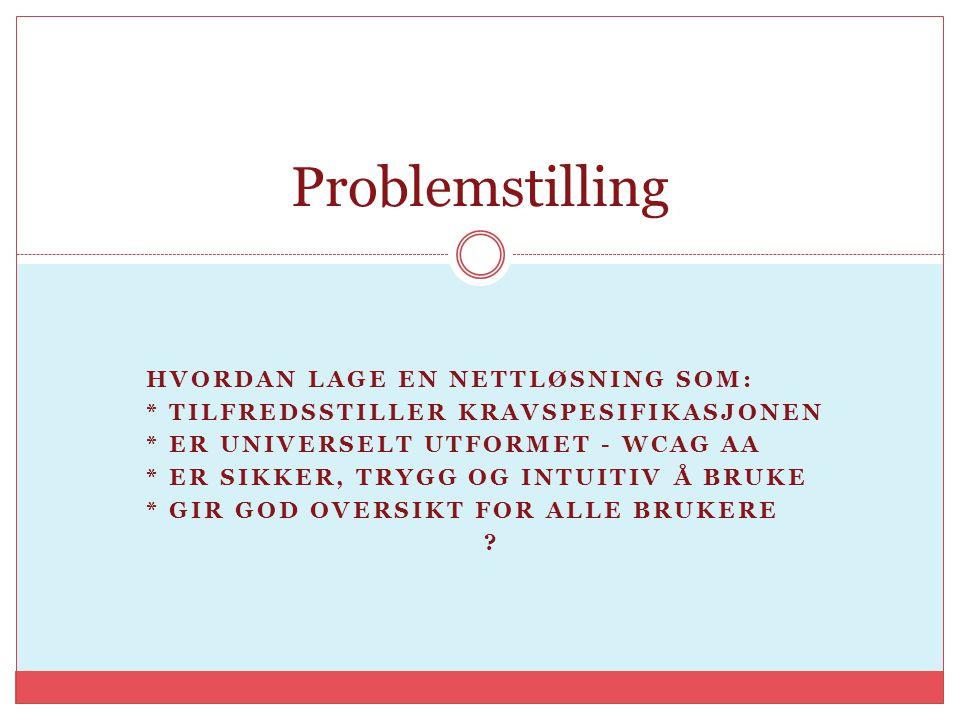 Problemstilling Hvordan lage en nettløsning som: