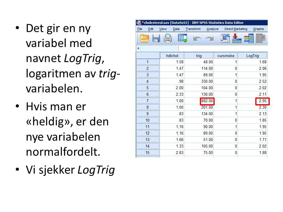 Det gir en ny variabel med navnet LogTrig, logaritmen av trig-variabelen.