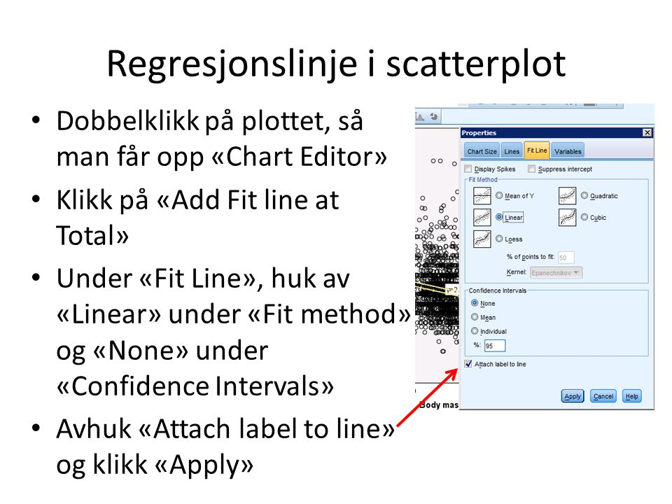 Regresjonslinje i scatterplot