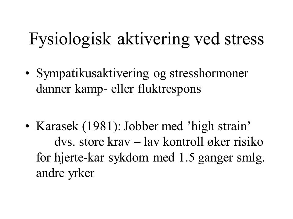 Fysiologisk aktivering ved stress