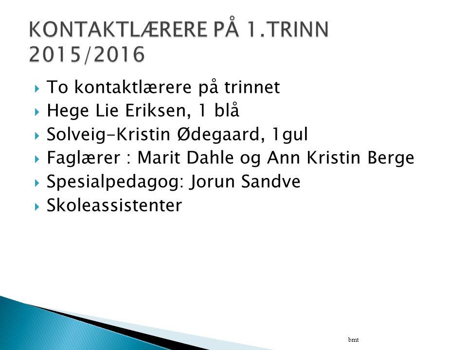 KONTAKTLÆRERE PÅ 1.TRINN 2015/2016
