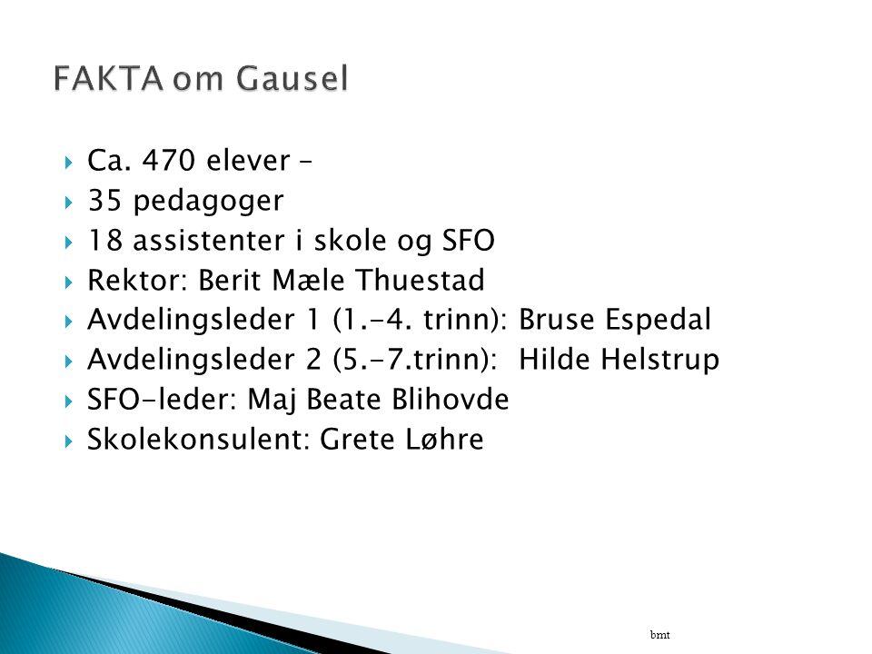 FAKTA om Gausel Ca. 470 elever – 35 pedagoger