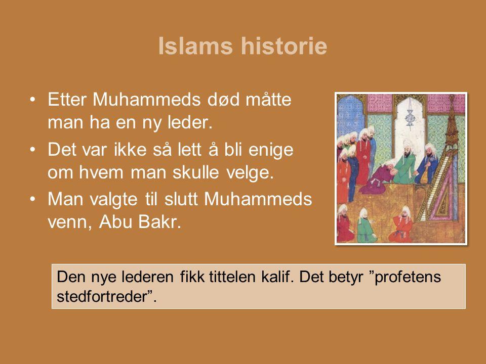 Islams historie Etter Muhammeds død måtte man ha en ny leder.