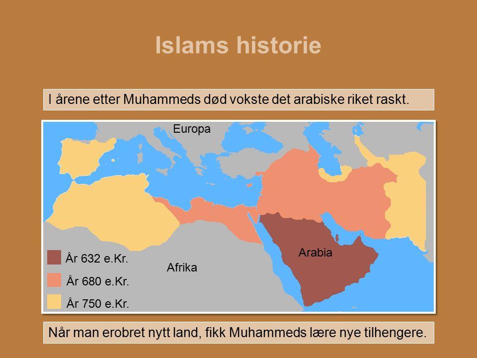 Islams historie I årene etter Muhammeds død vokste det arabiske riket raskt. Europa. Arabia.