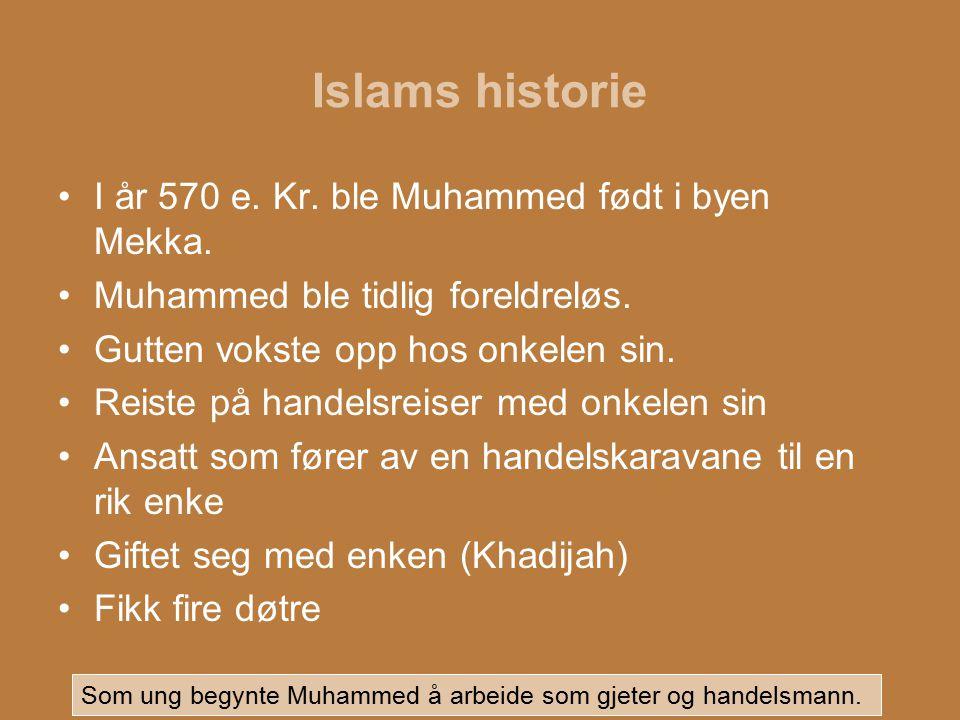 Islams historie I år 570 e. Kr. ble Muhammed født i byen Mekka.