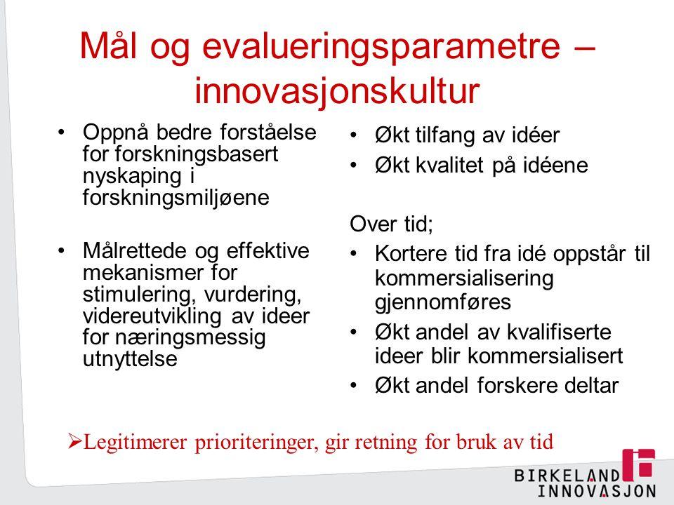 Mål og evalueringsparametre –innovasjonskultur