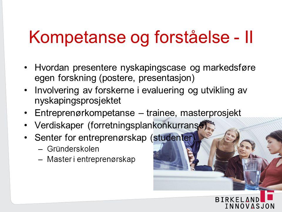 Kompetanse og forståelse - II