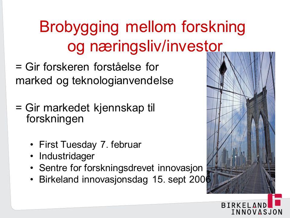 Brobygging mellom forskning og næringsliv/investor