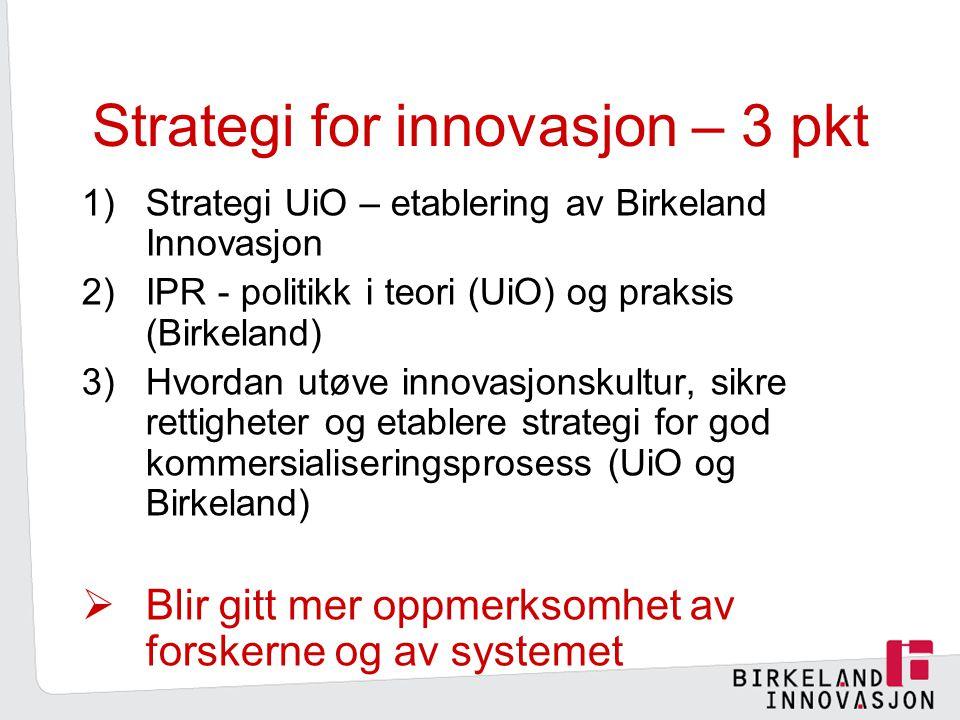 Strategi for innovasjon – 3 pkt