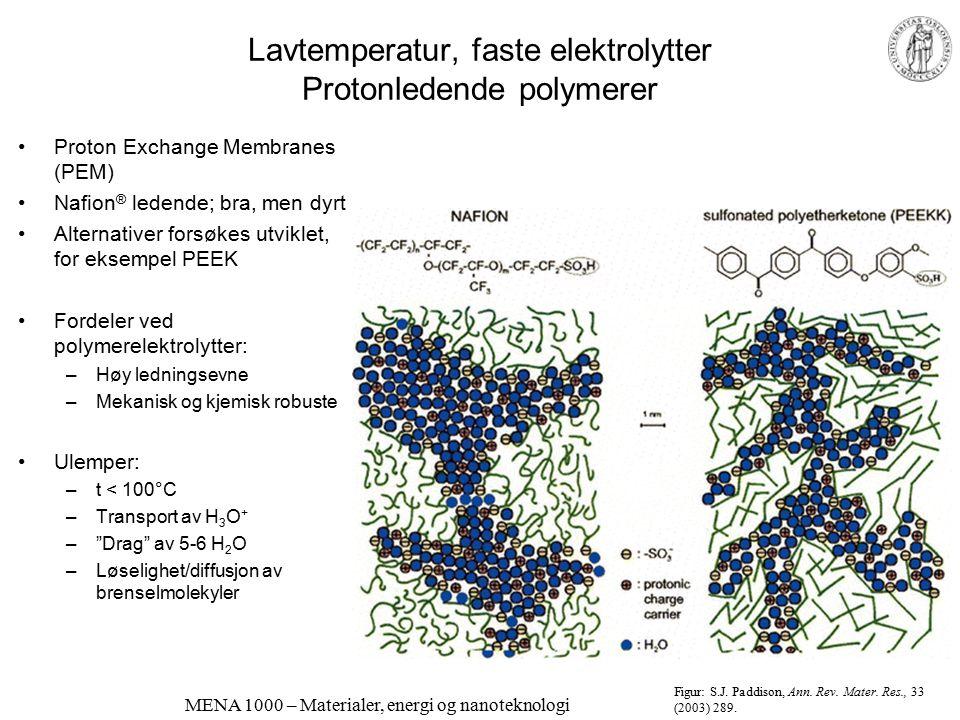 Lavtemperatur, faste elektrolytter Protonledende polymerer