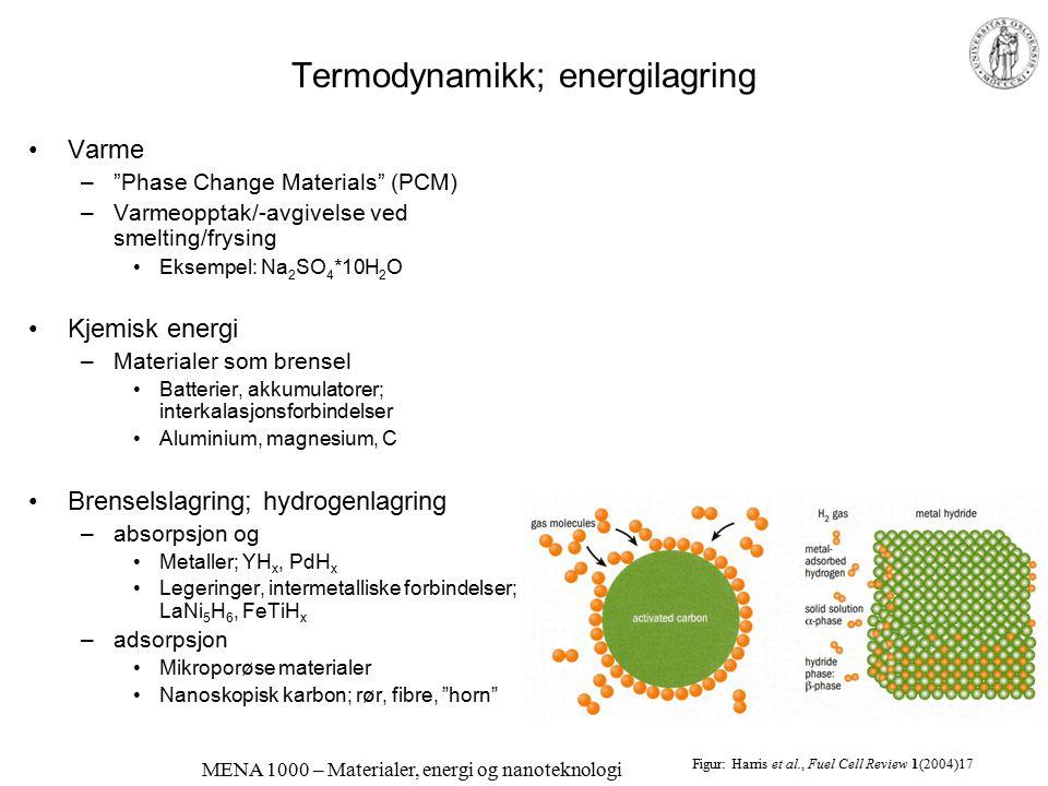 Termodynamikk; energilagring