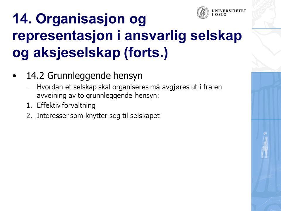 14. Organisasjon og representasjon i ansvarlig selskap og aksjeselskap (forts.)