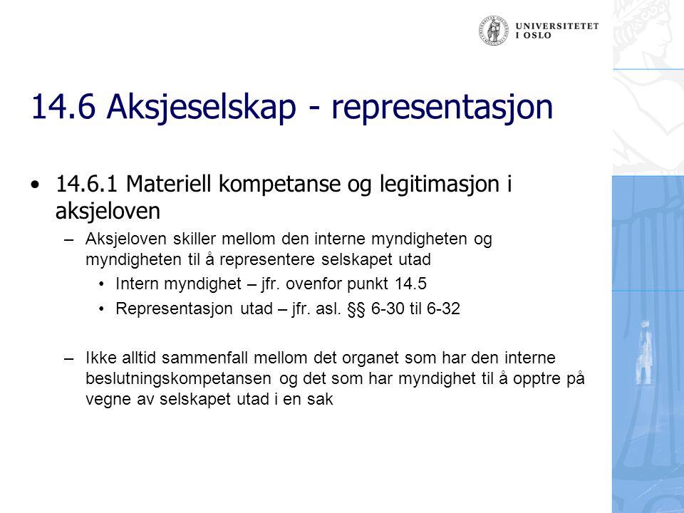 14.6 Aksjeselskap - representasjon