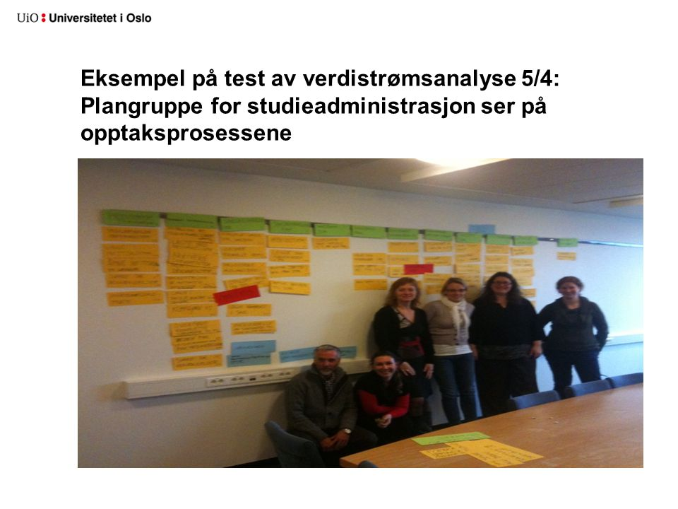 Eksempel på test av verdistrømsanalyse 5/4: Plangruppe for studieadministrasjon ser på opptaksprosessene