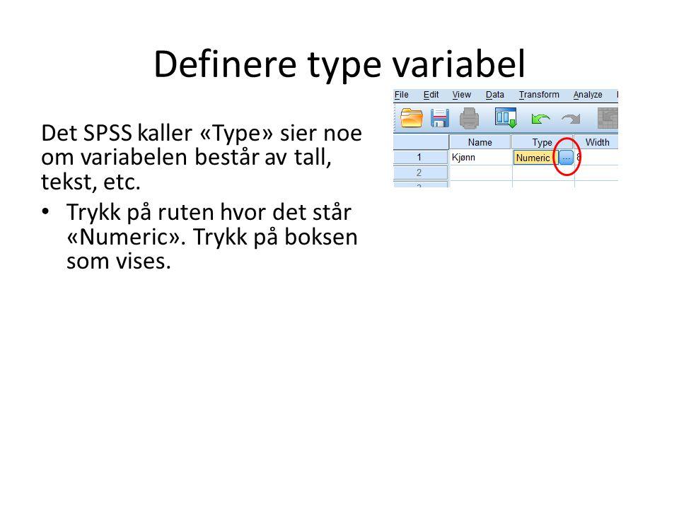 Definere type variabel