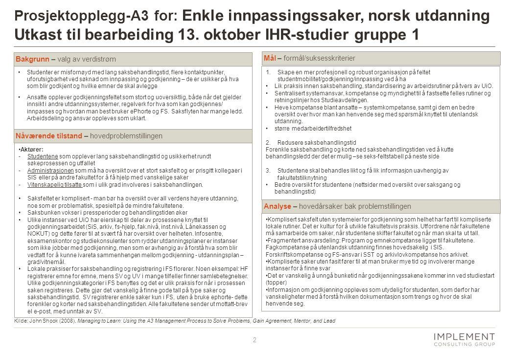 Prosjektopplegg-A3 for: Enkle innpassingssaker, norsk utdanning Utkast til bearbeiding 13. oktober IHR-studier gruppe 1