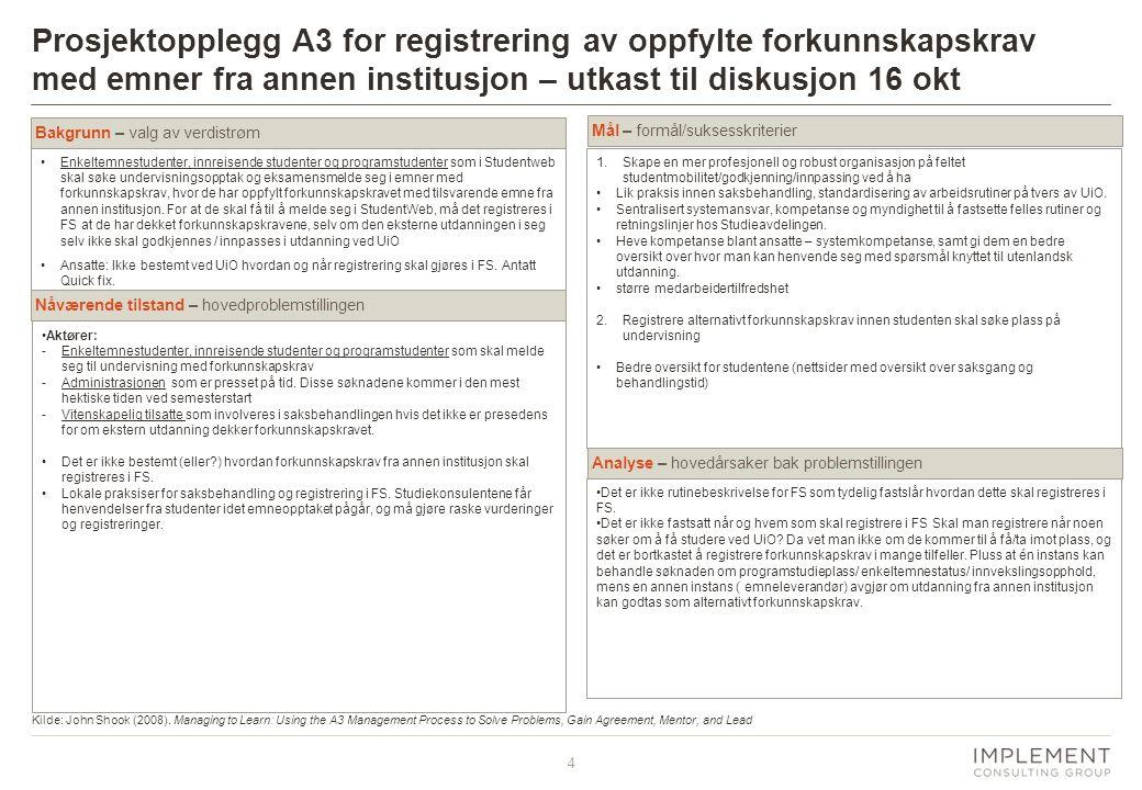 Prosjektopplegg A3 for registrering av oppfylte forkunnskapskrav med emner fra annen institusjon – utkast til diskusjon 16 okt