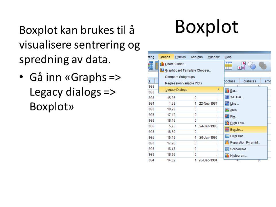 Boxplot Boxplot kan brukes til å visualisere sentrering og spredning av data.