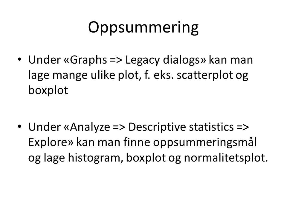 Oppsummering Under «Graphs => Legacy dialogs» kan man lage mange ulike plot, f. eks. scatterplot og boxplot.