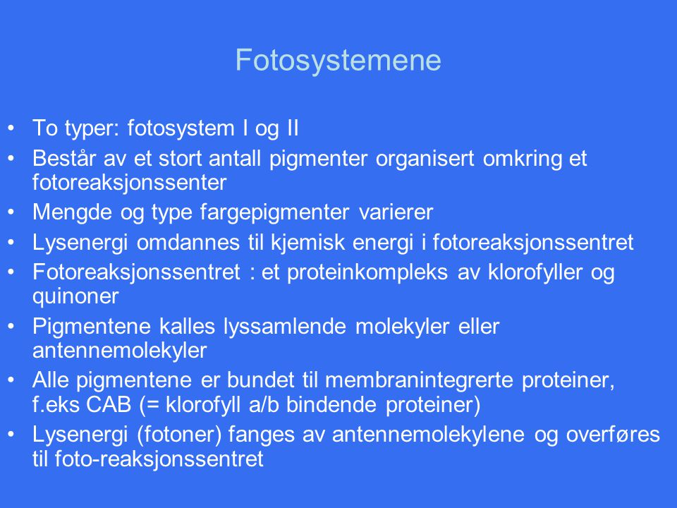 Fotosystemene To typer: fotosystem I og II