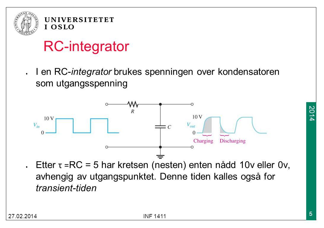 RC-integrator I en RC-integrator brukes spenningen over kondensatoren som utgangsspenning.