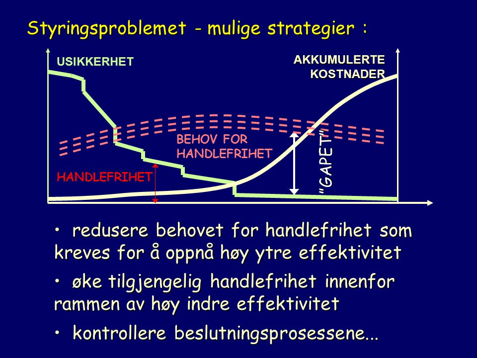 Styringsproblemet - mulige strategier :