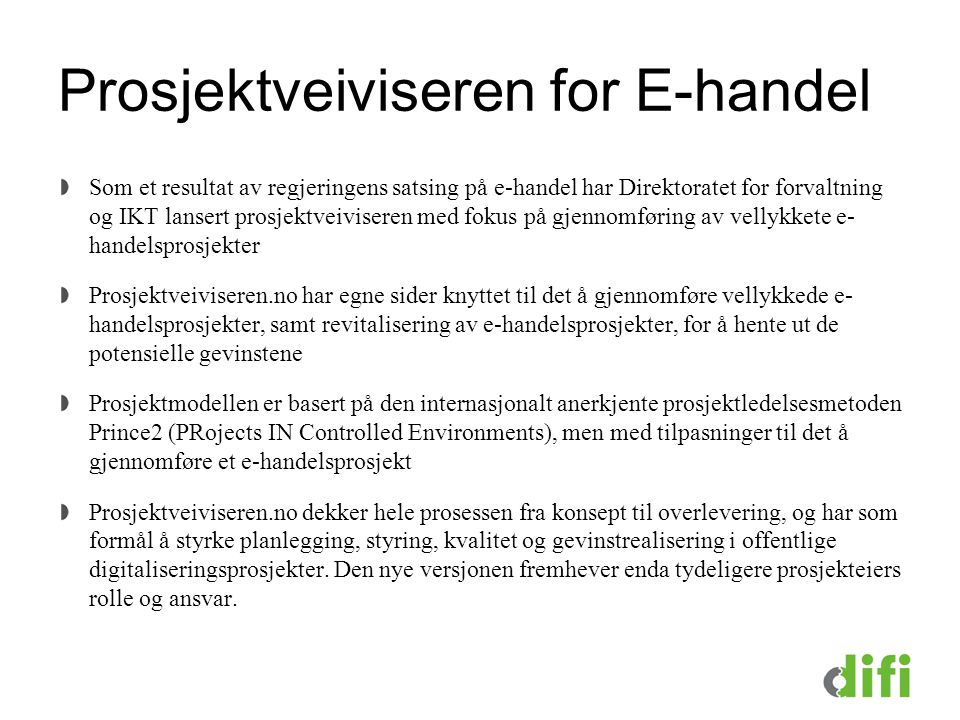 Prosjektveiviseren for E-handel