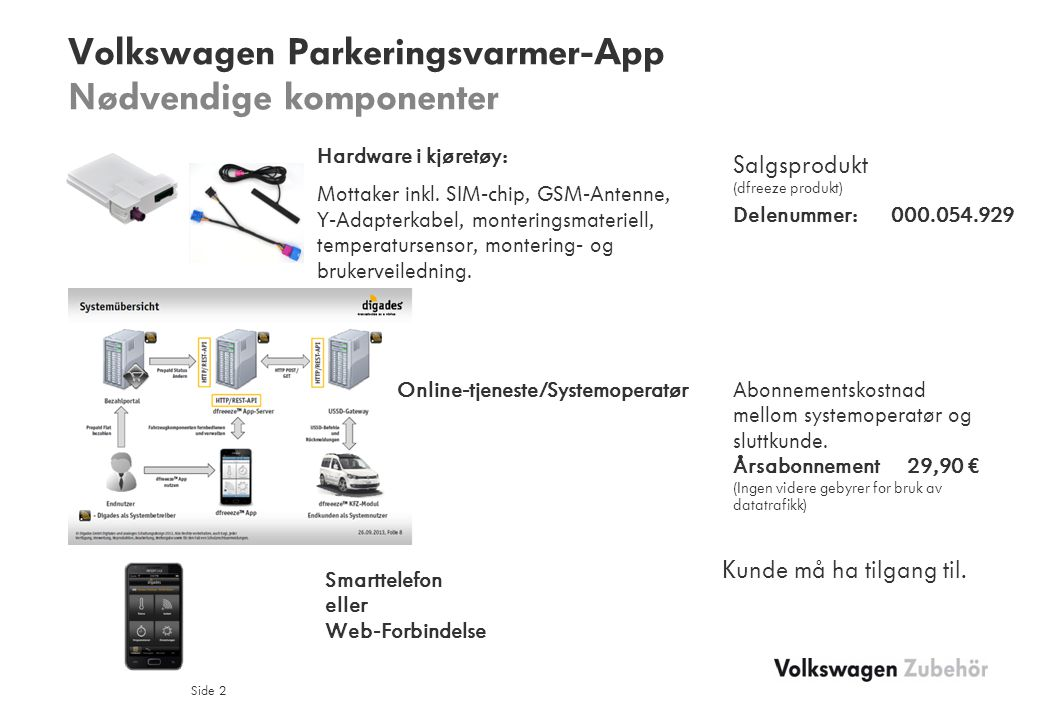 Volkswagen Parkeringsvarmer-App Nødvendige komponenter