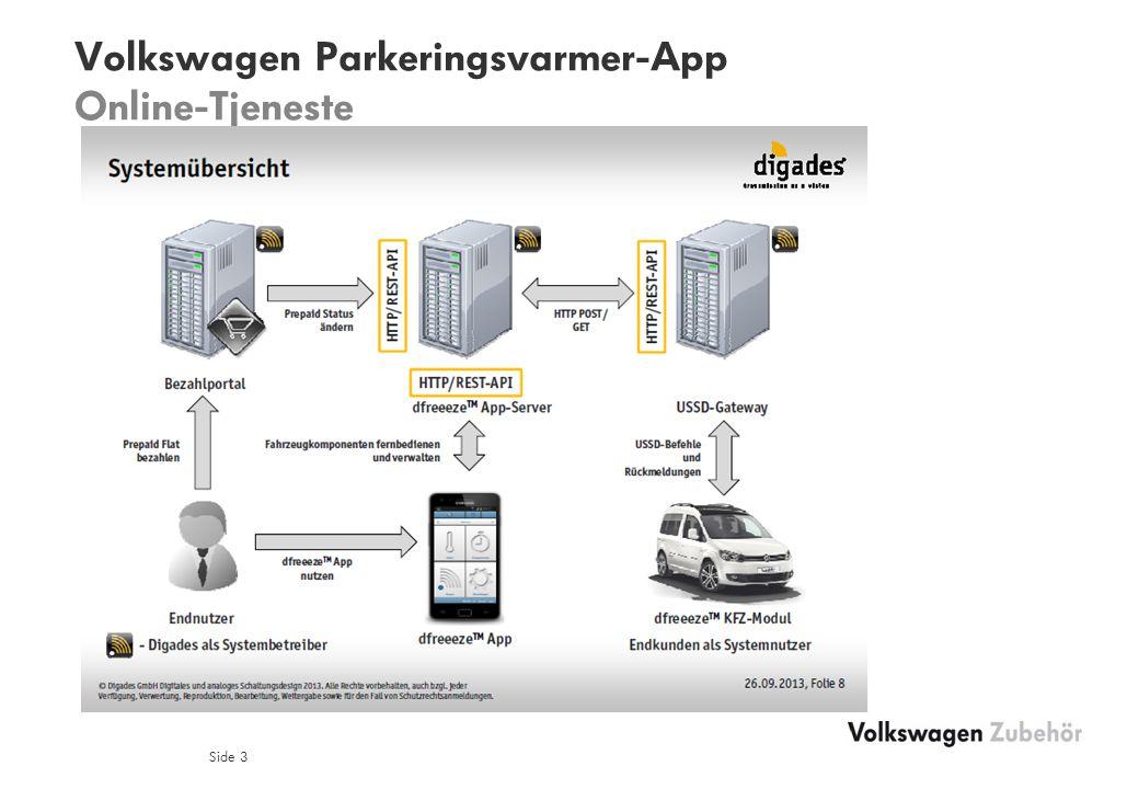 Volkswagen Parkeringsvarmer-App Online-Tjeneste