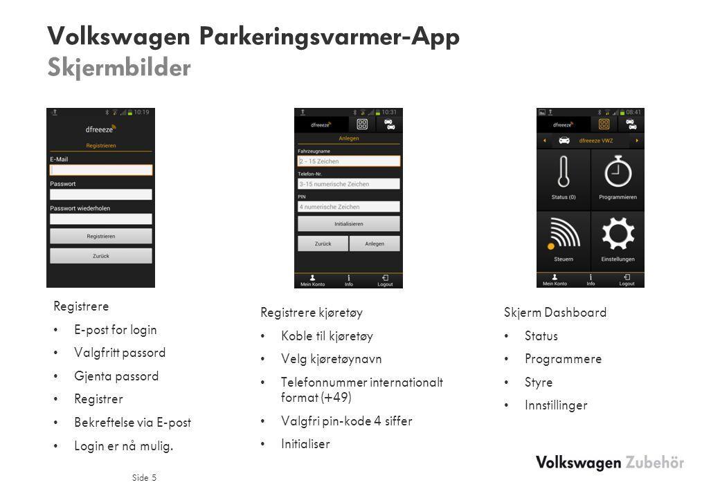 Volkswagen Parkeringsvarmer-App Skjermbilder