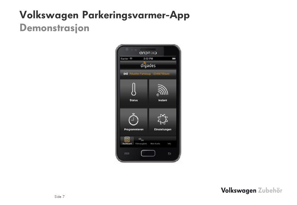 Volkswagen Parkeringsvarmer-App Demonstrasjon