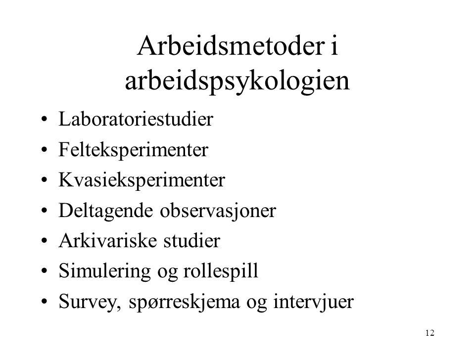 Arbeidsmetoder i arbeidspsykologien