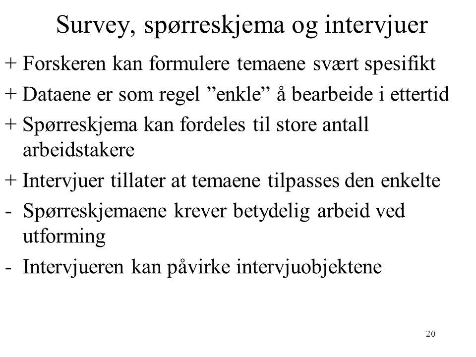 Survey, spørreskjema og intervjuer