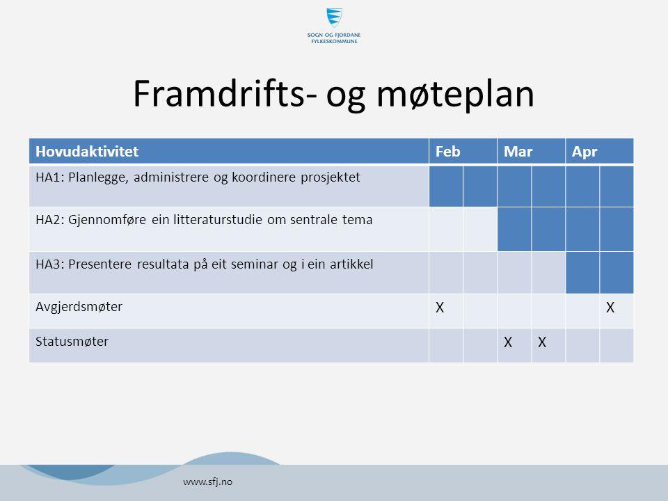 Framdrifts- og møteplan