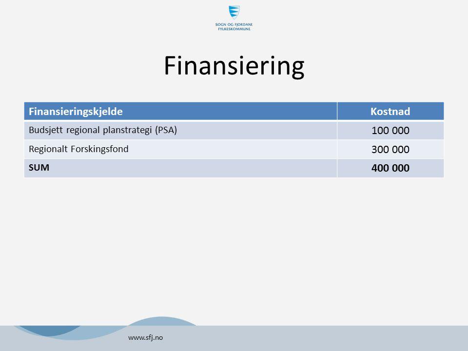 Finansiering Finansieringskjelde Kostnad 100 000 300 000 400 000