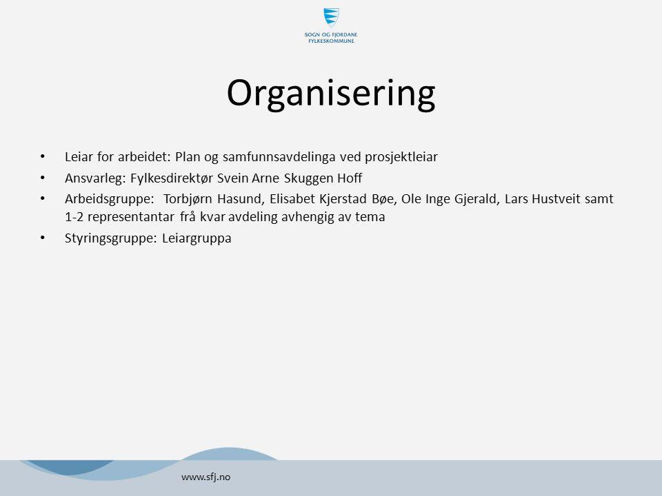 Organisering Leiar for arbeidet: Plan og samfunnsavdelinga ved prosjektleiar. Ansvarleg: Fylkesdirektør Svein Arne Skuggen Hoff.