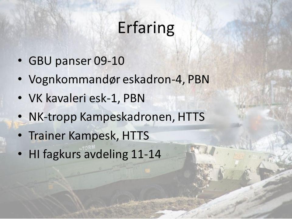 Erfaring GBU panser 09-10 Vognkommandør eskadron-4, PBN