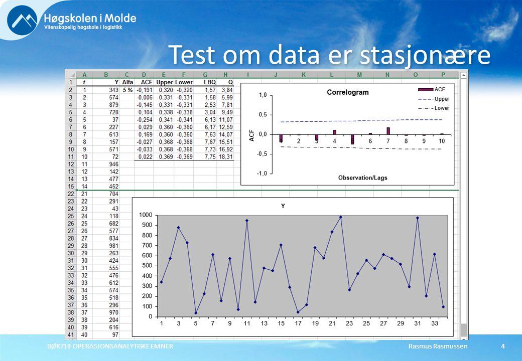 Test om data er stasjonære
