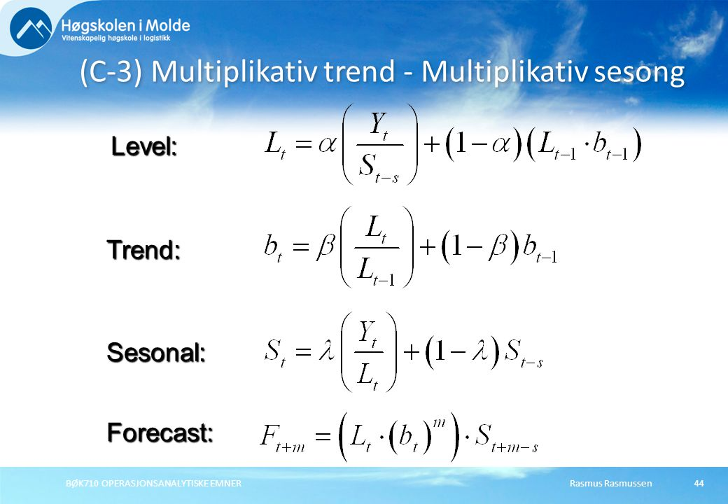 (C-3) Multiplikativ trend - Multiplikativ sesong
