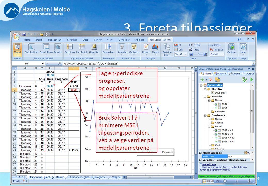 3. Foreta tilpassigner Lag en-periodiske prognoser, og oppdater modellparametrene.
