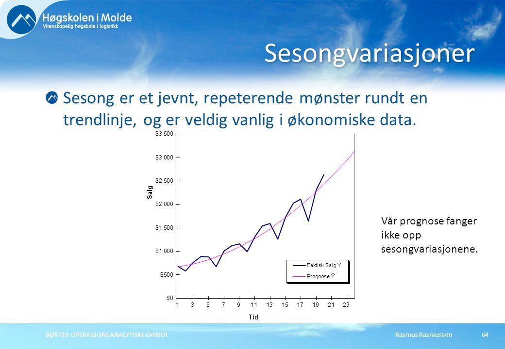 Sesongvariasjoner Sesong er et jevnt, repeterende mønster rundt en trendlinje, og er veldig vanlig i økonomiske data.