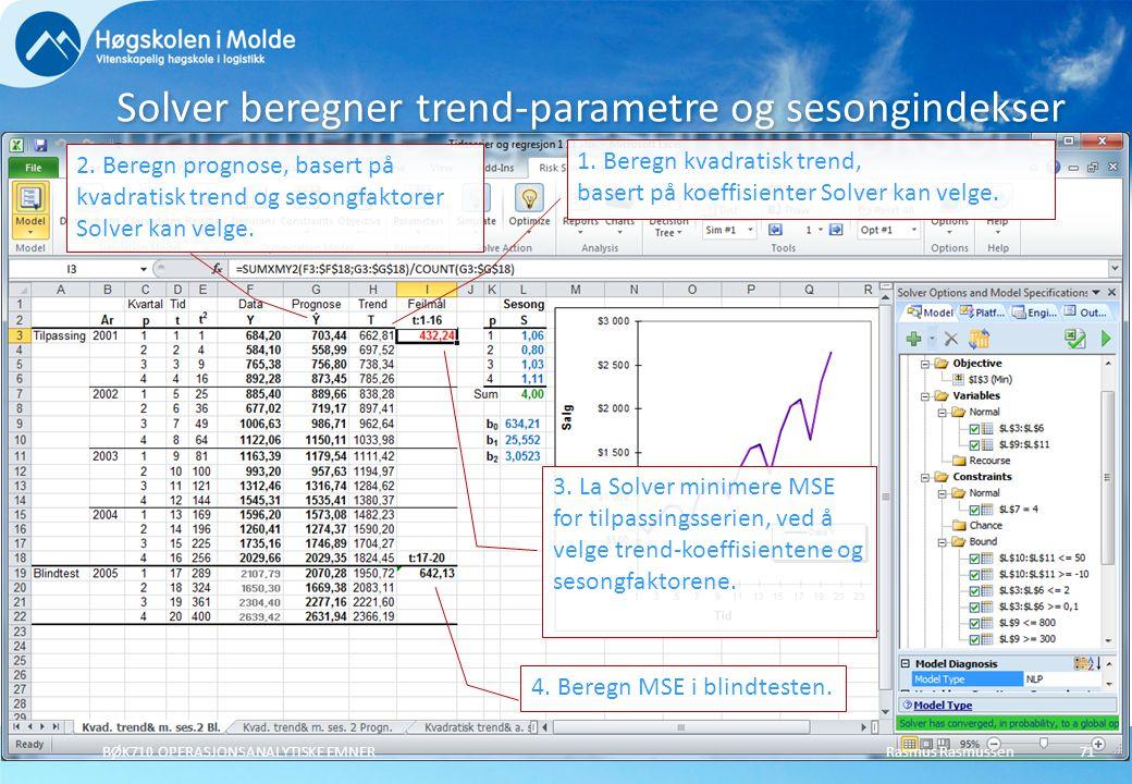 Solver beregner trend-parametre og sesongindekser