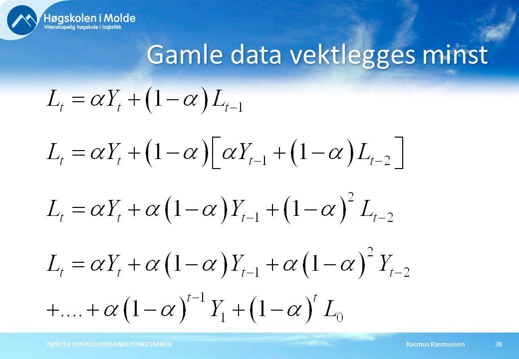 Gamle data vektlegges minst
