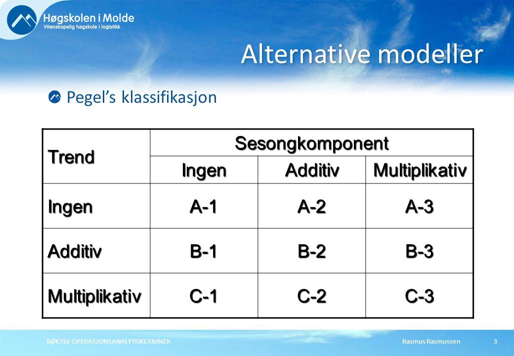 Alternative modeller Pegel's klassifikasjon Trend Sesongkomponent