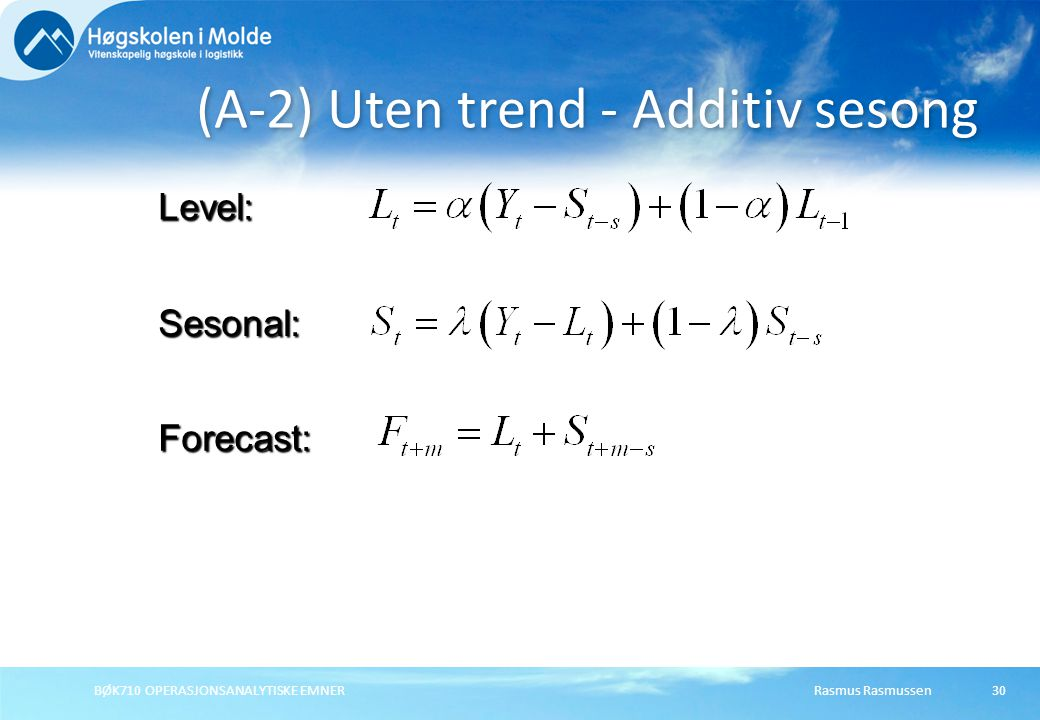 (A-2) Uten trend - Additiv sesong