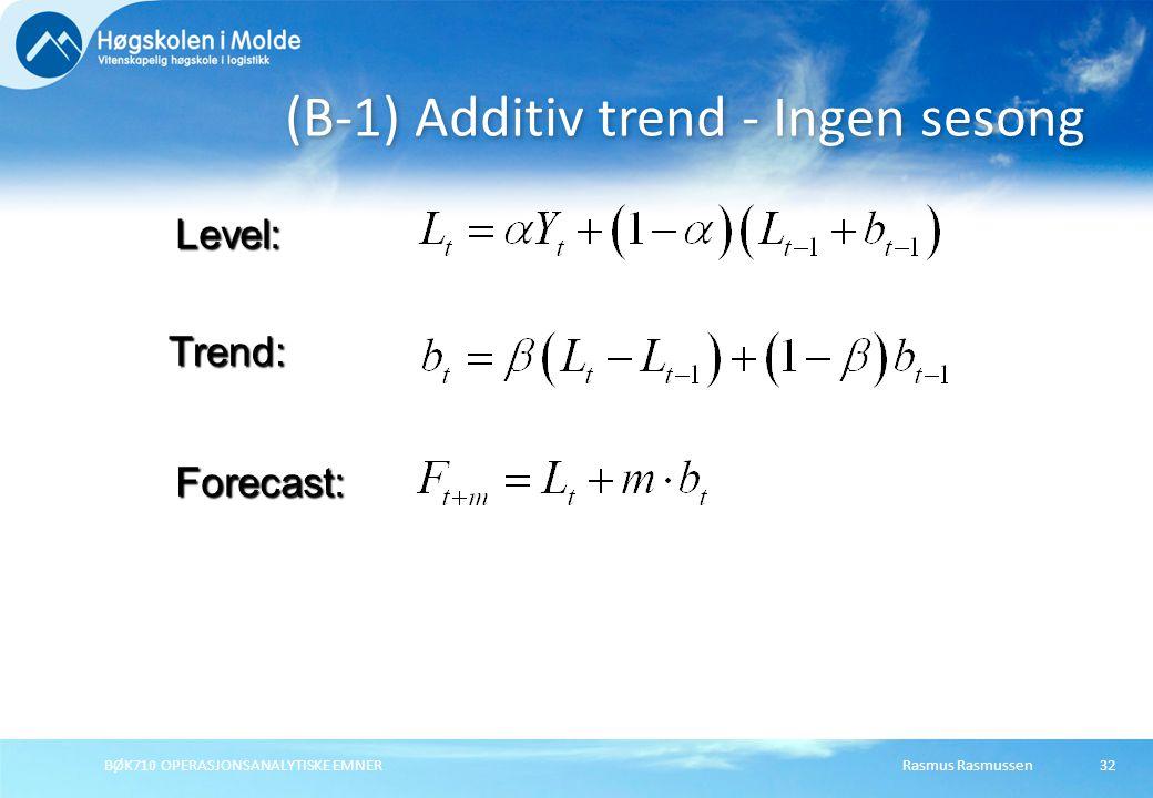 (B-1) Additiv trend - Ingen sesong