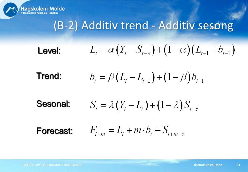 (B-2) Additiv trend - Additiv sesong