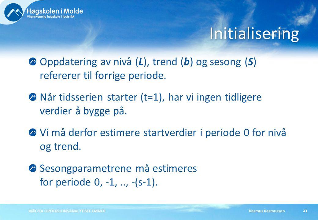 Initialisering Oppdatering av nivå (L), trend (b) og sesong (S) refererer til forrige periode.