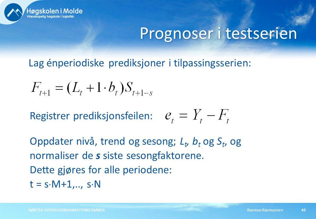 Prognoser i testserien